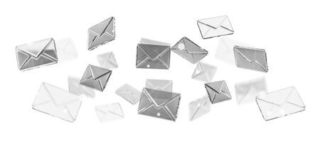 3D rendering flying email icon and web flying on white background