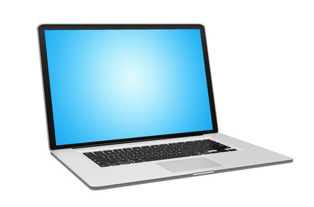 black background: Modern digital metallic silver and black laptop with blue screen 3D rendering Stock Photo