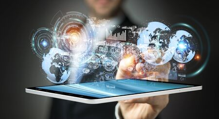 international internet: Businessman moving digital datas with a tactile pen on hologram screen 3D rendering Stock Photo