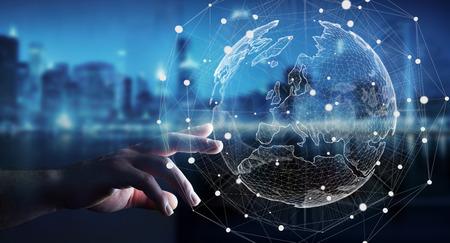 글로벌 네트워크 및 데이터 교환 세계를 만지고 사업가 3D 렌더링