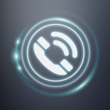 contact: White and glowing blue phone icon 3D rendering on dark background Stock Photo