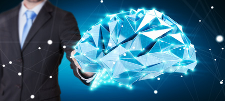skill: Businessman touching digital human brain with cell and neurons activity 3D rendering