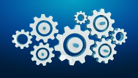 silver background: Digital gear icons on blue background 3D rendering