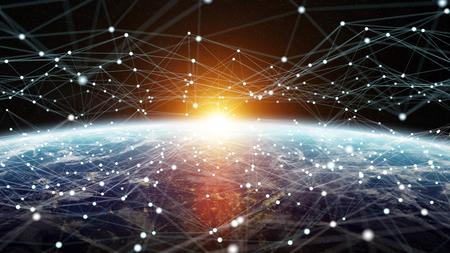 Gegevensuitwisseling en wereldwijd netwerk over de hele wereld 3D-rendering elementen van deze afbeelding geleverd door NASA Stockfoto