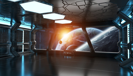 starship: Spaceship blue interior with view on space and distant planets system 3D rendering