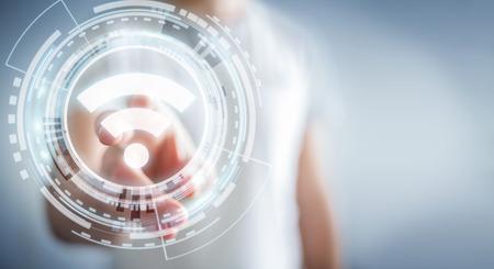 Zakenman op onscherpe achtergrond met behulp van gratis Wi-Fi-hotspot-interface 3D-rendering