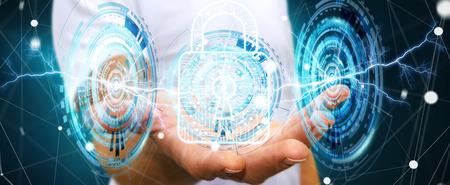 secure: Businessman on blurred background using digital padlock to secure his datas 3D rendering