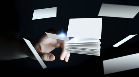 contact: Businesswoman touching white floating business card with her finger 3D rendering