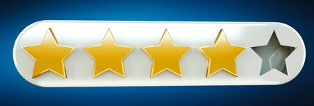 Five digital gold ranking stars on blue background 3D rendering Stock Photo