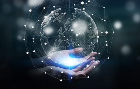 Unternehmer, die globalen Netzwerk und den Datenaustausch auf der Welt 3D-Rendering Standard-Bild - 71491722