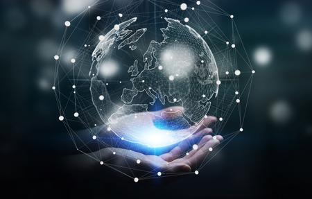 Zakenman die het wereldwijde netwerk en de uitwisseling van gegevens over de hele wereld 3D-rendering