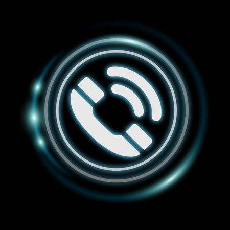 hotline: White and glowing blue phone icon 3D rendering on dark background Stock Photo