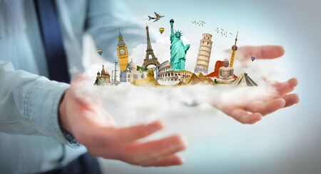 popular: Businessman on blurred background holding a cloud full of famous monuments in his hands 3D rendering Stock Photo