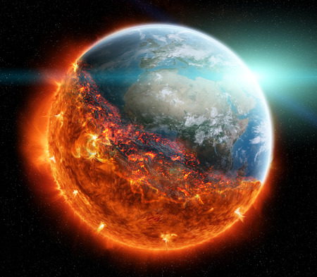 Vue sur la planète terre qui brûle dans l'espace rendu 3D Banque d'images - 71491752