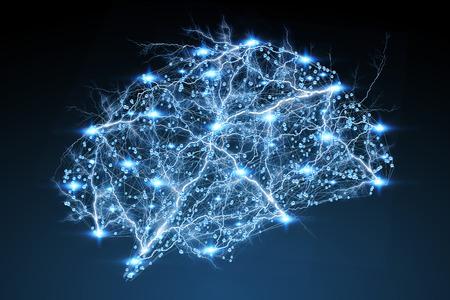 Digital Röntgen-menschliches Gehirn auf blauem Hintergrund 3D-Rendering Standard-Bild - 71491770