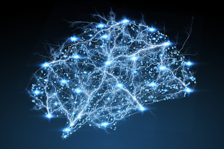 Digitale x-ray menselijke hersenen op een blauwe achtergrond 3D-rendering