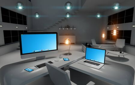 sombre: Modern dark office interior with desk computer and digital devices 3D rendering