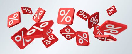 Sales icons floating in the air on grey background 3D rendering Stock Photo