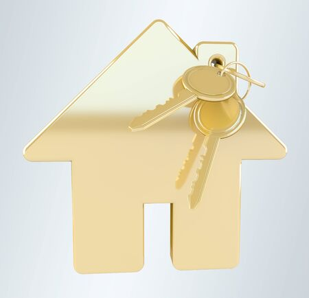 Gold key with house keyring on grey background 3D rendering