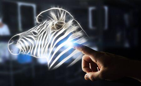 Person touching with his finger fractal endangered zebra illustration 3D rendering