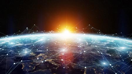 Gegevensuitwisseling en wereldwijd netwerk over de hele wereld 3D-rendering elementen van deze afbeelding geleverd door NASA Stockfoto - 71492127
