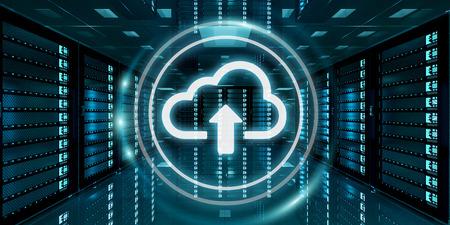 Sala de servidores centro de datos con el icono de la nube azul flotando dentro de la representación 3D Foto de archivo - 72677749
