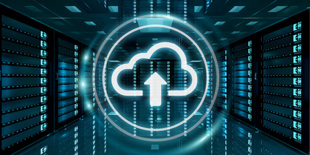 Sala de servidores centro de datos con el icono de la nube azul flotando dentro de la representación 3D