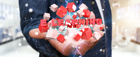 online: Man holding on blurred background holding floating 3D render e-learning presentation with cube
