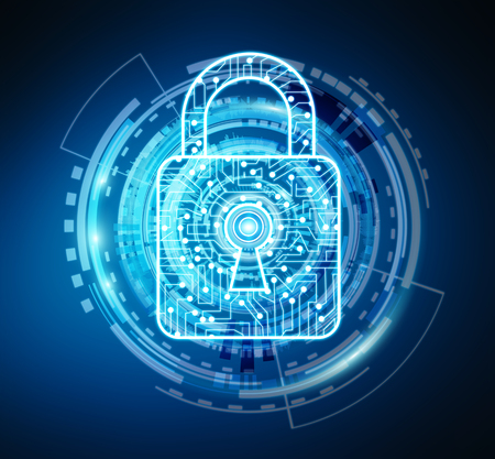 secure: Digital padlock securing datas on blue background 3D rendering