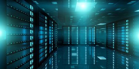 domains: Dark server room data center storage with blue lights 3D rendering