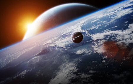 stars: View of a distant planet system from space during a sunrise 3D rendering Stock Photo