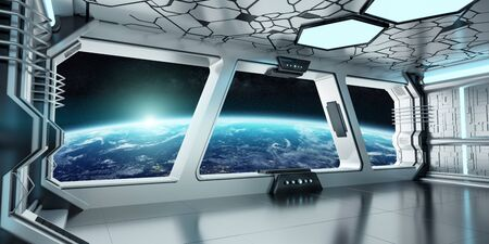 Spaceship white and blue interior with view on space and planet Earth 3D rendering