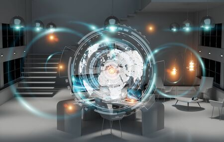 lamp light: Office with modern devices and digital datas on hologram screens 3D rendering Stock Photo