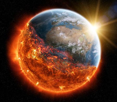 空間の 3 D レンダリングの燃焼地球のビュー