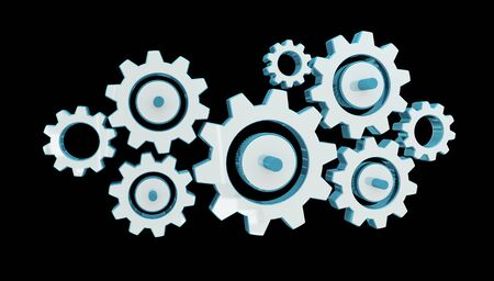 engine: Digital gear icons on black background 3D rendering