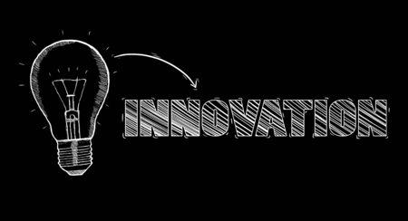 lamp light: Hand-drawn lightbulb innovation concept on black background Stock Photo