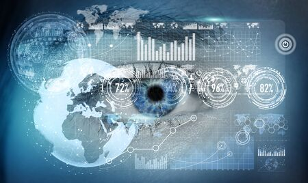 Close-up of woman digital eye during scanning process 3D rendering Stock Photo