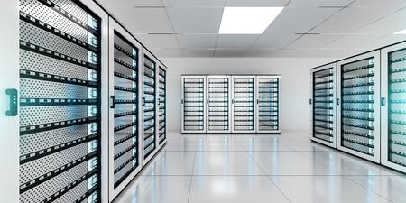 White server room data center storage with blue lights 3D rendering