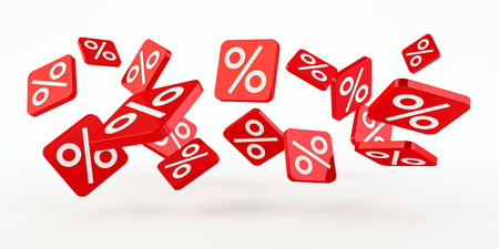 Red sales icons floating in the air on white background 3D rendering
