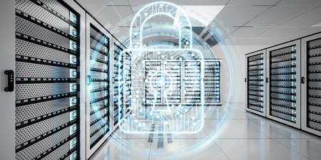 Witte en blauwe firewall geactiveerd op serverruimte datacenter 3D-weergave
