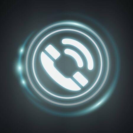Blanco y brillante icono de teléfono azul Procesamiento de 3D sobre fondo oscuro Foto de archivo