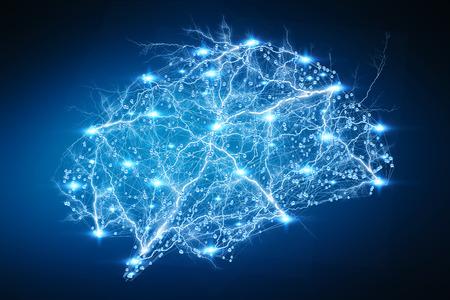 青い背景の 3 D レンダリングに人間の脳をデジタル x 線