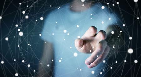 international internet: Businessman on blurred background touching floating dot network 3D rendering Stock Photo