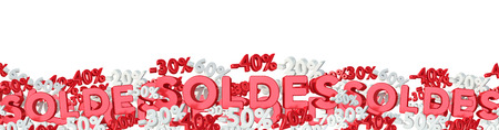 Sales icons and percent banner floating in the air on white background 3D rendering