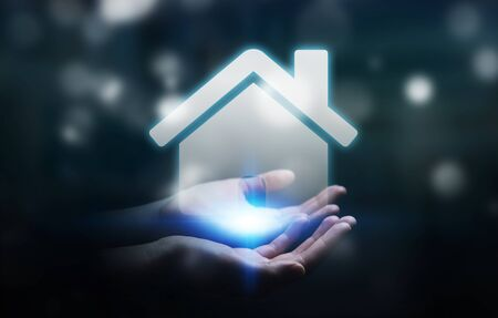 real estate house: Businessman on blurred background holding 3D rendering icon house in his hand