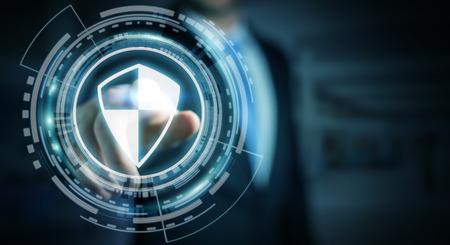 Zakenman op vage achtergrond die schild veilige bescherming gebruiken om zijn datas het 3D teruggeven te beschermen