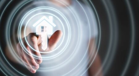 real estate house: Businessman on blurred background touching 3D rendering icon house with his finger