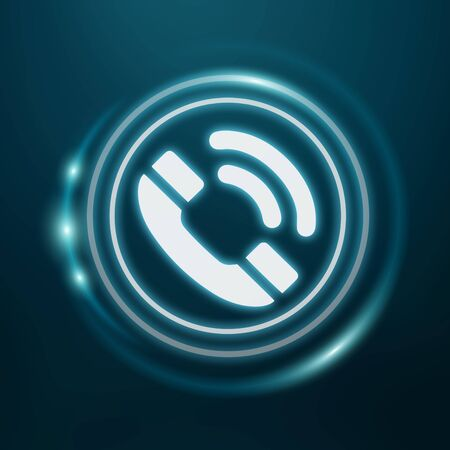 White and glowing blue phone icon 3D rendering on blue background Stock Photo