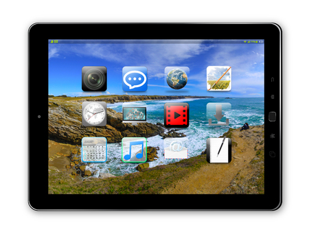 Modern digital black tablet on white background 3D rendering
