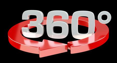 360 degree 3D render icon on black background
